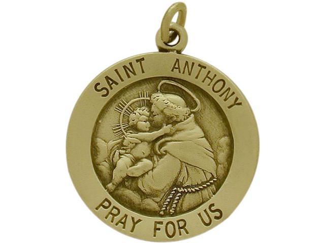 14 Karat Yellow Gold Saint Anthony Religious Medal Medallion with a Chain