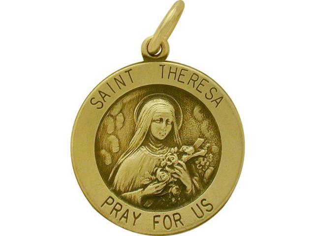 14 Karat Yellow Gold Saint Teresa Religious Medal Medallion