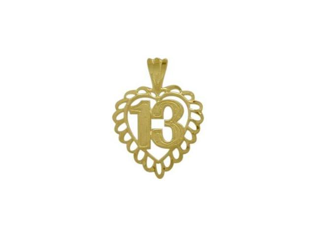 10K Yellow Gold Fancy #13 Heart Age Pendant with Chain