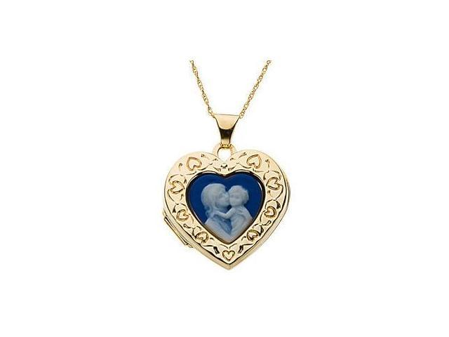 14 Karat Yellow Gold Heart Cameo Locket with a chain