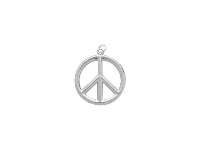 Genuine Sterling Silver Large Peace Symbol Pendant with Chain