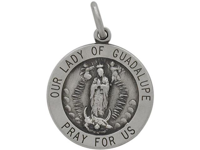 Sterling Silver Our Lady of Guadalupe 18.5mm Religious Medal Medallion with Chain