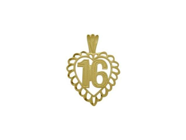 10K Yellow Gold Fancy #16 Heart Age Pendant with Chain