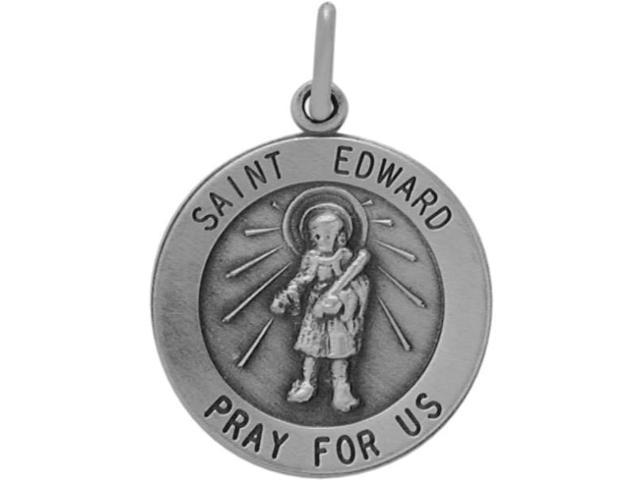 Sterling Silver St. Edward Religious Medal Medallion with chain