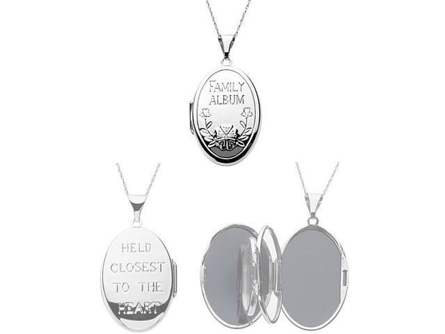 Genuine Sterling Silver Diamond Family Locket with a chain