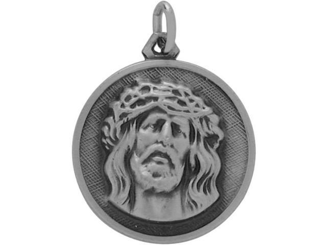 Sterling Silver Large Religious Jesus Medal Medallion with chain