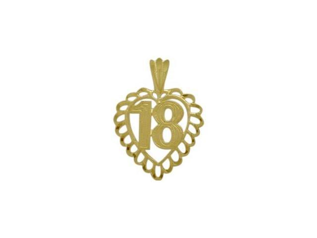 10K Yellow Gold Fancy #18 Heart Age Pendant with Chain