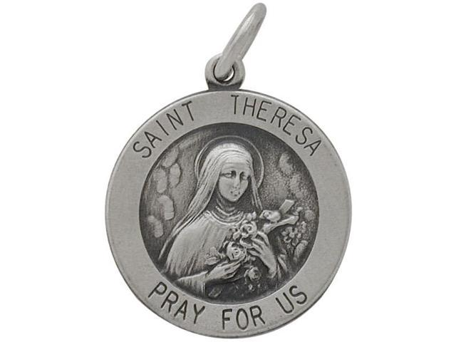 Sterling Silver Saint Teresa 18.5mm Religious Medal Medallion with Chain