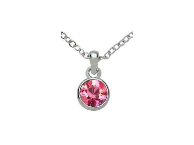 SWAROVSKI® Elements Pink Solitaire Pendant with a chain