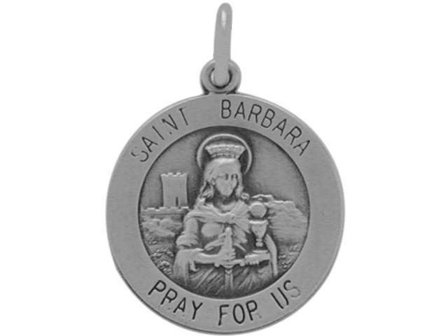 Sterling Silver St. Barbara Religious Medal Medallion with chain