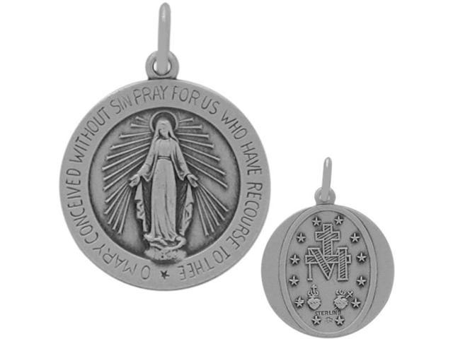 Round Sterling Silver Religious Mary Medal Medallion with chain