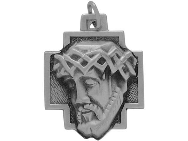 Large Sterling Silver Religious Jesus Medal Medallion with chain