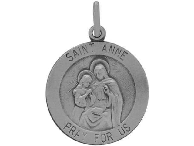 Sterling Silver St. Anne Religious Medal Medallion with chain