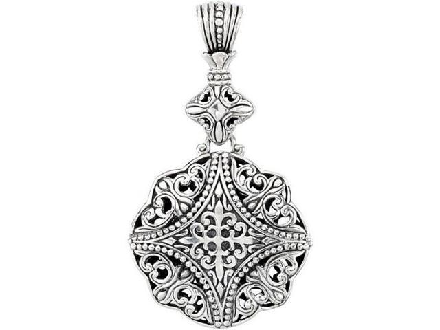 Genuine Sterling Silver Large Filigree Design Pendant with a chain