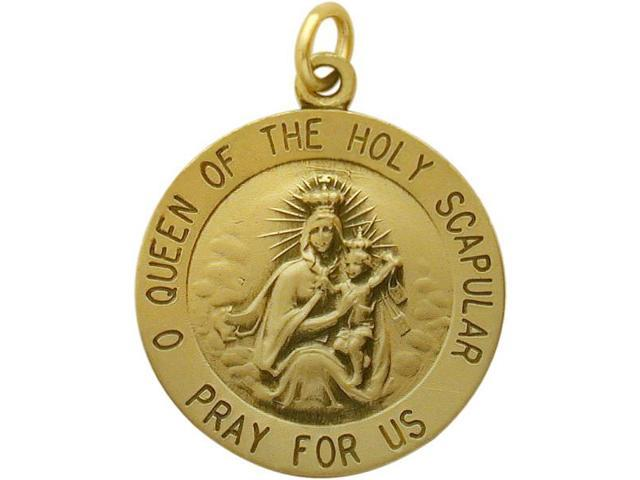 14 Karat Yellow Gold Holy Scapular Religious Medal Medallion with a Chain