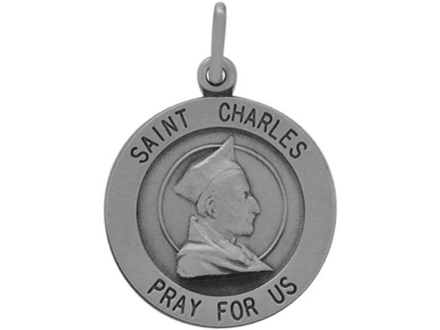 Sterling Silver St. Charles Religious Medal Medallion with chain
