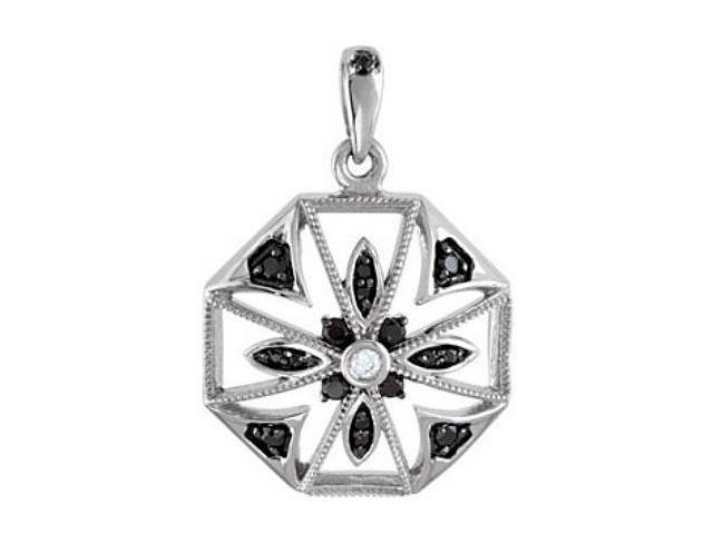 Genuine Sterling Silver Black Spinel & Diamond Pendant with a chain