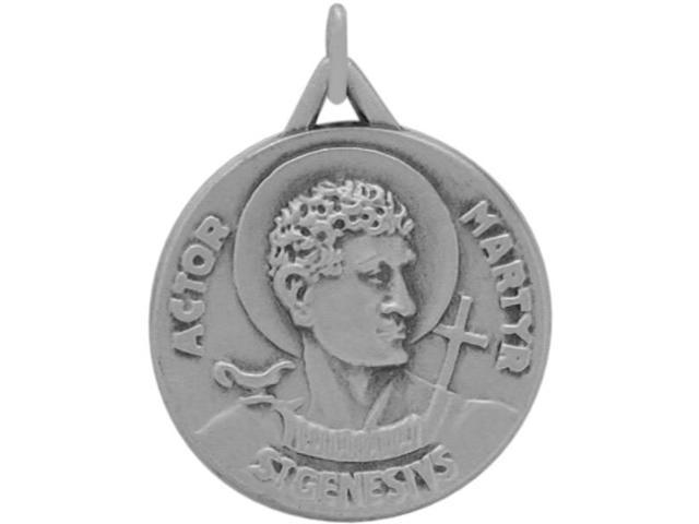 Sterling Silver St. Genesivs Religious Medal Medallion with chain