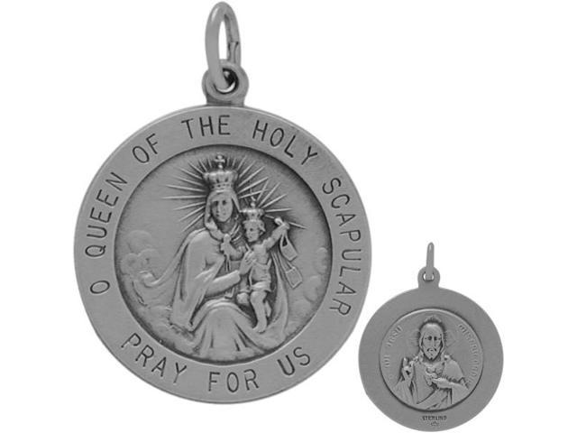 Sterling Silver O Queen of the Holy Scapular Medal Medallion