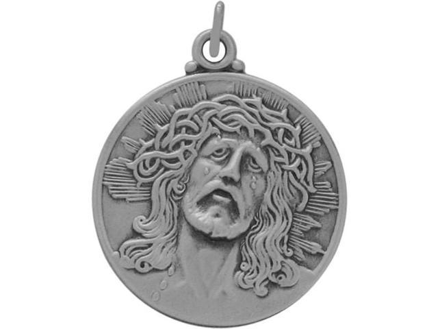 Large Round Sterling Silver Religious Jesus Medal Medallion with chain