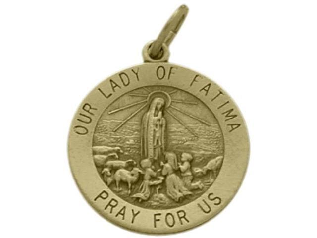 14 Karat Yellow Gold Our Lady of Fatima Medal Medallion with Chain