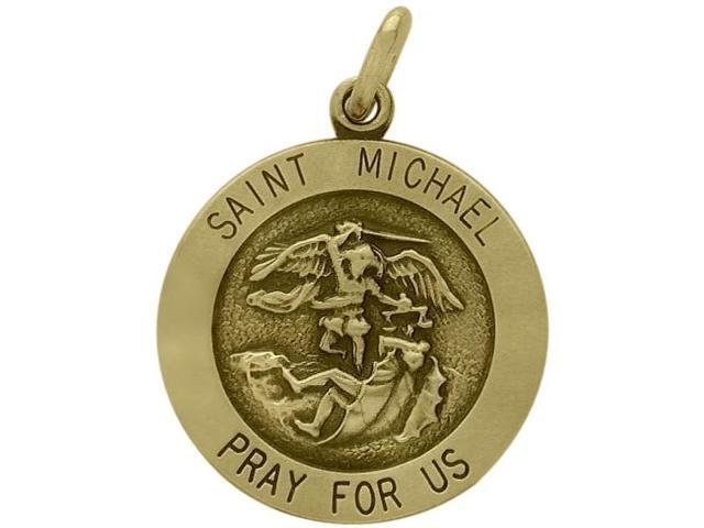 14 Karat Yellow Gold Saint Michael Religious Medal Medallion with a Chain
