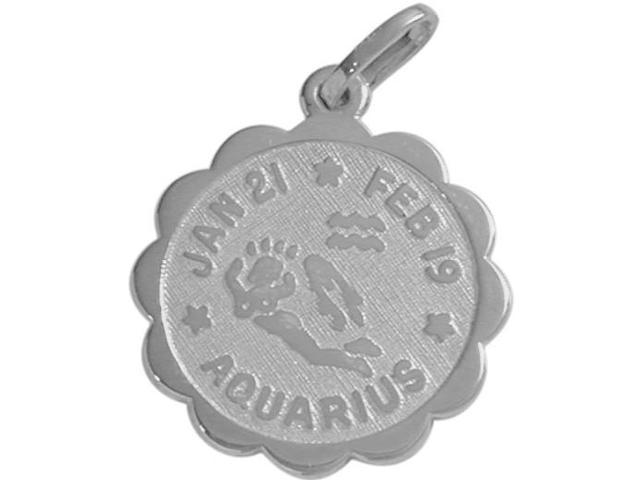 10 Karat White Gold Aquarius Zodiac Pendant (Jan 21-Feb 19) with Chain