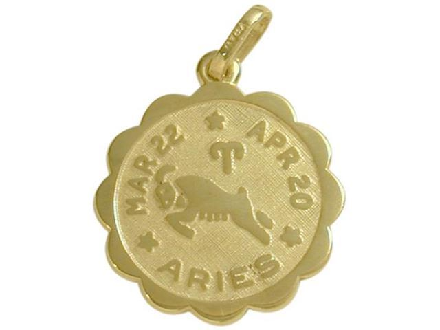 10 Karat Yellow Gold Aries Zodiac Pendant (Mar 22 - Apr 20) with Chain
