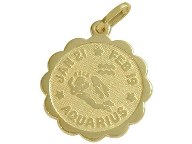 10 Karat Yellow Gold Aquarius Zodiac Pendant (Jan 21-Feb 19) with Chain
