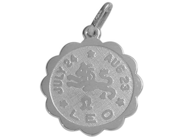 14 Karat White Gold Leo Zodiac Pendant (July 24 - Aug 23) with Chain