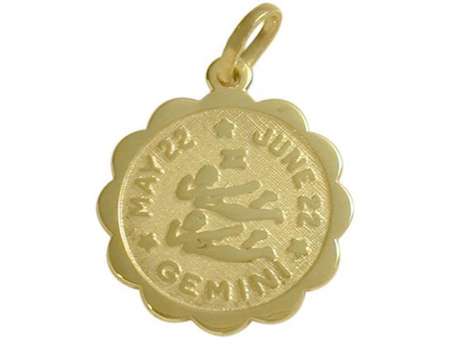 14 Karat Yellow Gold Gemini Zodiac Pendant (May 22 - June 22) with Chain