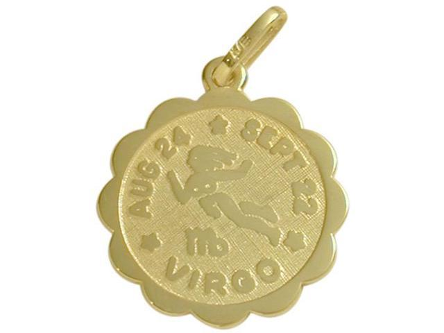 10 Karat Yellow Gold Virgo Zodiac Pendant (Aug 24 - Sept 22) with Chain
