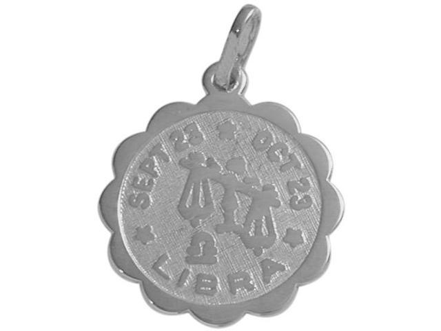 14 Karat White Gold Libra Zodiac Pendant (Sept 23 - Oct 23) with Chain