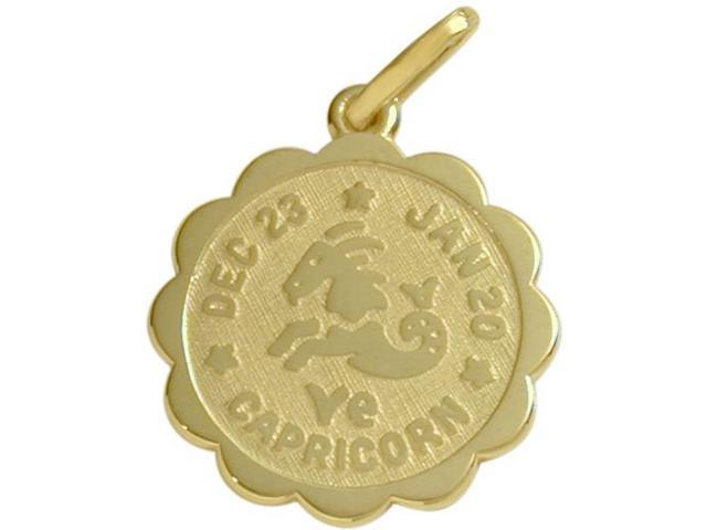 14 Karat Yellow Gold Capricorn Zodiac Pendant (Dec 23-Jan20) with Chain