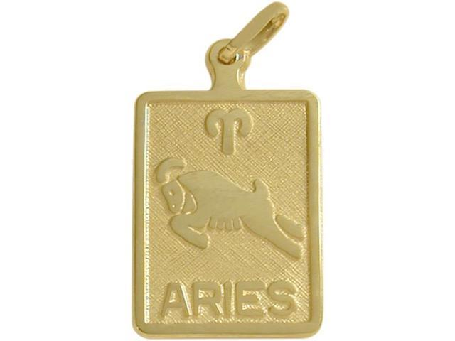 10 Karat Yellow Gold Aries Zodiac Pendant with Chain