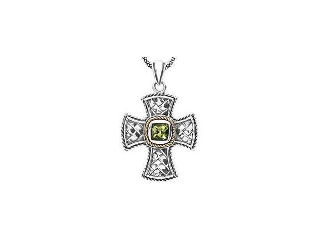 Genuine Sterling Silver & 14 Karat Yellow Gold 6mm Genuine Peridot Cross Pendant with a chain