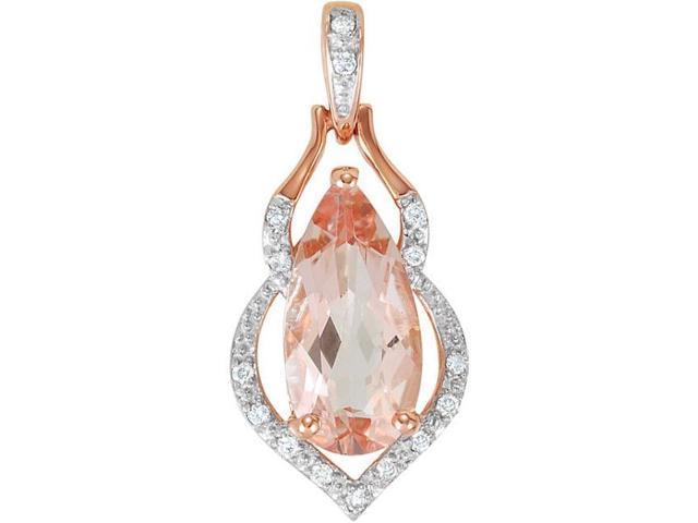 14 Karat Rose Gold Genuine Morganite & Diamond Pendant with 20 chain