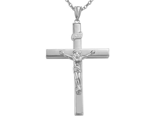 Flat Style Genuine Sterling Silver Large Crucifix Cross