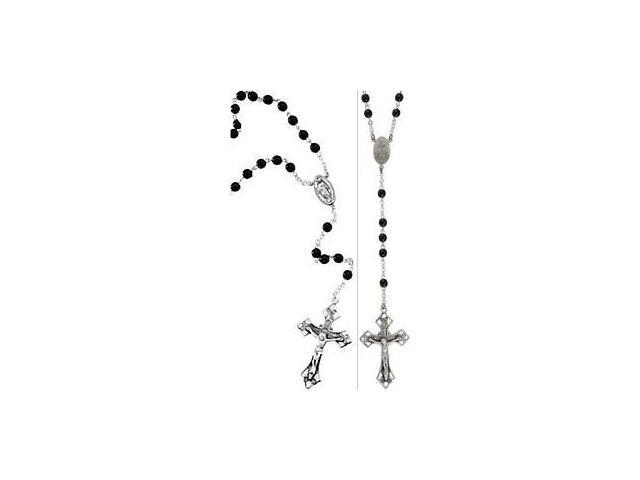 Genuine Sterling Silver Crucifix & Black Glass Bead Rosary