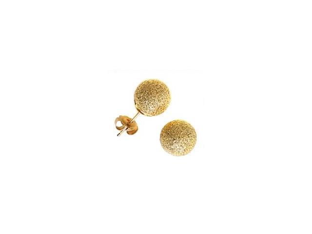 14 Karat Yellow Gold Sandblast 4mm Ball Style Earrings