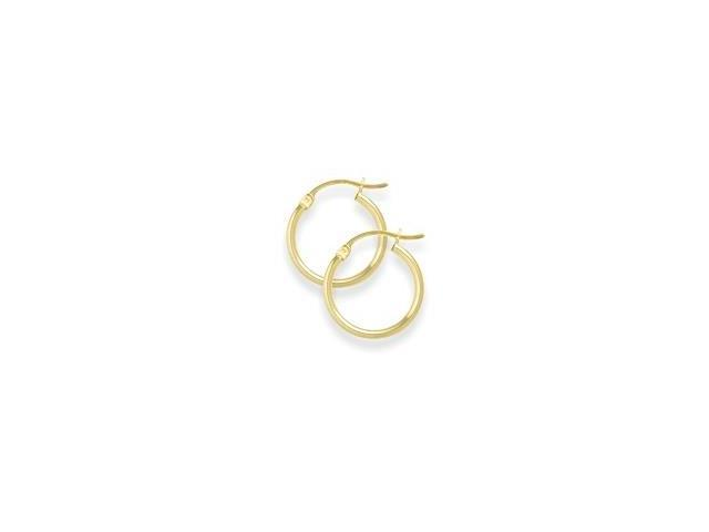 7/8 Inch Traditional Yellow Gold Hoop Earrings