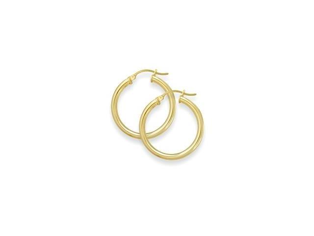 1 2/5 Inch Traditional Yellow Gold Hoop Earrings
