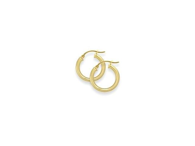 6/8 Inch Traditional Thick Yellow Gold Hoop Earrings
