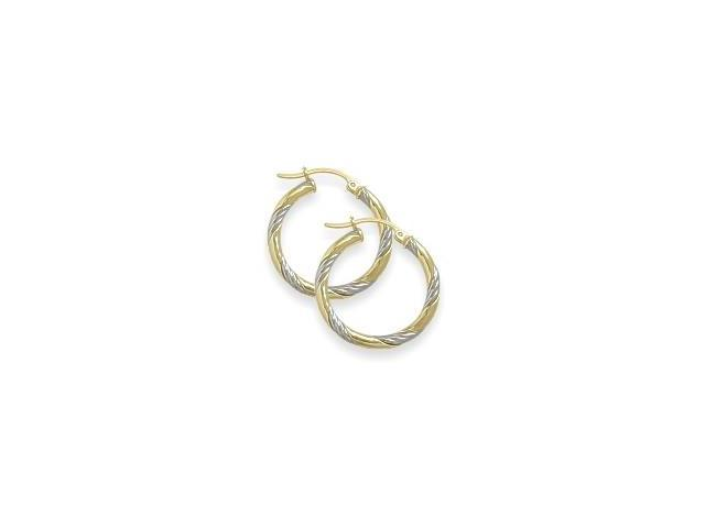 Two-Toned 7/8 Inch Intertwining Gold Hoop Earrings