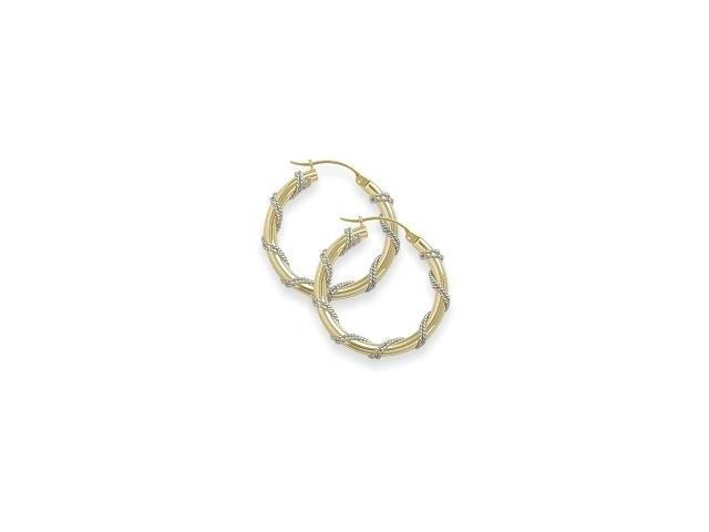 Intertwining Two-Toned 7/8 Inch Gold Hoop Earrings