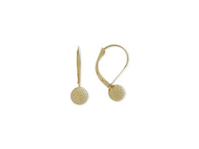 14 Karat Yellow Gold Sandblast 5mm Frenchback Earrings