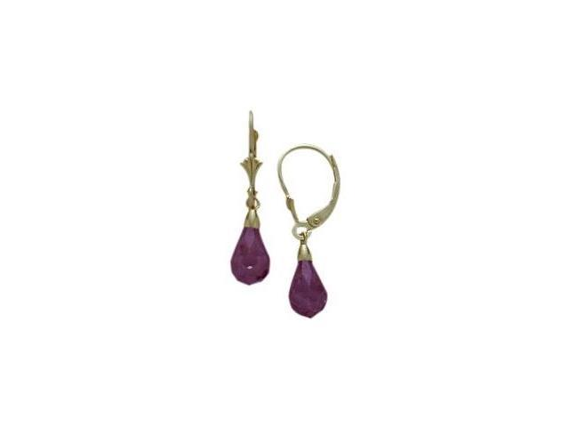 Created Amethyst 1.20 Carat 10 Karat Yellow Gold Briolette Earrings