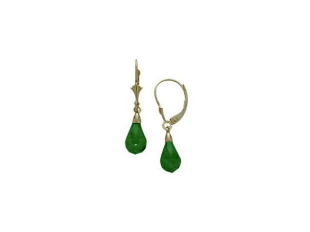 Created Emerald 1.20 Carat 10 Karat Yellow Gold Briolette Earrings