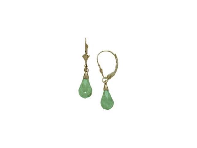 Created Peridot 1.20 Carat 10 Karat Yellow Gold Briolette Earrings
