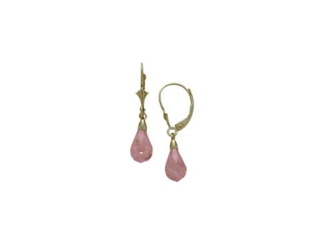 Created Pink Tourmaline 1.20 Carat 10 Karat Gold Briolette Earrings
